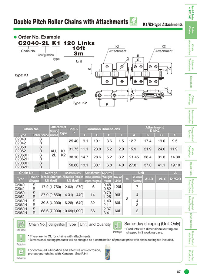 Double Pitch Roller Chain K1/K2 Type Attachment | Katayama